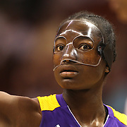 Nikki Greene, Los Angeles Sparks, (wearing face mask), in action during the Connecticut Sun Vs Los Angeles Sparks WNBA regular season game at Mohegan Sun Arena, Uncasville, Connecticut, USA. 3rd July 2014. Photo Tim Clayton
