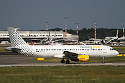 Vueling Airbus A320-216 (EC-KJD) ready for takeoff at Malpensa (MXP / LIMC), Milan, Italy