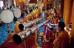 DHARAMSALA, INDIA  - Monks play traditional music at the Namgyal Monastery, in Dharamsala, India. The focus of cultural life in Dharamsala is the Namgyal Monastery, the tantric college which performs rituals with and for His Holiness the Dalai Lama. The Namgyal Monastery was founded by the Third Dalai Lama in the late sixteenth century. Since then, the monastery has exclusively served the Dalai Lamas. A distinctive feature of this monastery is its diversity of practice: prayers and rituals of all the major schools of Tibetan Buddhism are performed by Namgyal monks. The monastery is now situated next to the Tsuglag Khang, or the Central Cathedral, across from the Dalai Lama's residence. Young monks can often be seen studying, and practicing debate in the courtyard leading to His Holiness' residence. At present, the monastery has more than 180 monks, of which the younger monks study the major texts of Buddhist Sutra and Tantra.(PHOTO © JOCK FISTICK)