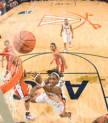 Virginia center Aisha Mohammed (33) shoots against Clemson.  The Virginia Cavaliers women's basketball team defeated the Clemson Tigers 83-71 at the John Paul Jones Arena in Charlottesville, VA on February 21, 2008.