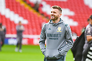 Leeds United defender Stuart Dallas (15) arrives at the ground during the EFL Sky Bet Championship match between Barnsley and Leeds United at Oakwell, Barnsley, England on 15 September 2019.