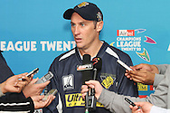 David Hussey of the Victorian Bushrangers answers questions during the post match press conference during match 13 of the Airtel CLT20 between The Superkings and the Victorian Bushrangers held at St Georges Park in Port Elizabeth on the 18 September 2010..Photo by: Shaun Roy/SPORTZPICS/CLT20