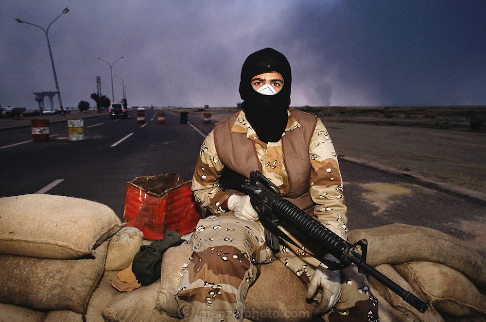 Kuwaiti checkpoint outside Kuwait city immediately after the Gulf War. More than 700 wells were set ablaze by retreating Iraqi troops creating the largest man-made environmental disaster in history.