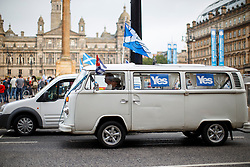 © Licensed to London News Pictures. 18/09/2014. Glasgow, UK. 'Yes' voters and campaigners meeting at George Square in Glasgow whilst people of Scotland going to polling stations to vote on the Scottish independence referendum on Thursday, 18 September 2014. Photo credit : Tolga Akmen/LNP