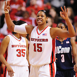 Mar 2, 2009; Piscataway, NJ, USA; Rutgers center Kia Vaughn (15) reacts to forcing a turnover on defense during the second half of Rutgers game against nationally rated #1 Connecticut at the Louis Brown Athletic Center.  Connecticut won 69-59 to finish their regular season a perfect 30-0.
