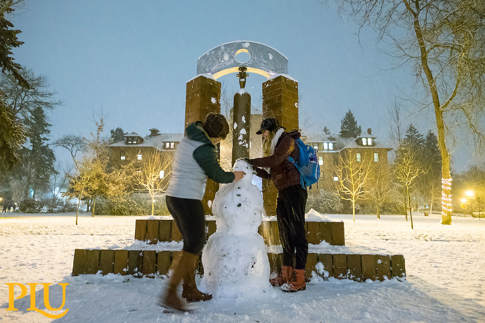 Snowy evening at PLU, Thursday, Dec. 8, 2016. (Photo: John Froschauer/PLU)