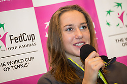 Kaja Juvan during press conference of Slovenian Women Tennis Team before FedCup Competition 2018, on January 25, 2018 in Tennis Centre Breskvar, Ljubljana, Slovenia.  Photo by Vid Ponikvar / Sportida