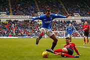 Rangers Lassana Coulibaly jumps a challenge during the Ladbrokes Scottish Premiership match between Rangers and Kilmarnock at Ibrox, Glasgow, Scotland on 16 March 2019.