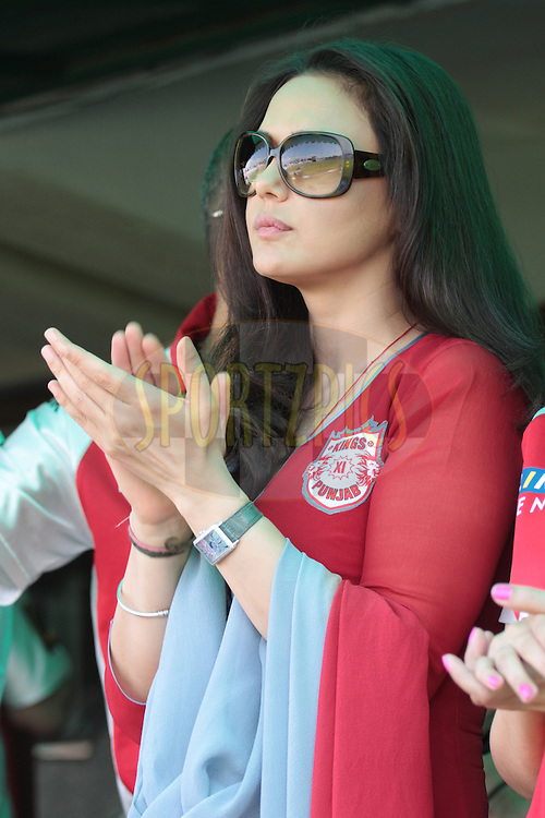 Preeti Zinta during match 9 of the Indian Premier League ( IPL ) Season 4 between the Kings XI Punjab and the Chennai Super Kings held at the PCA stadium in Mohali, Chandigarh, India on the 13th April 2011..Photo by Anil Dayal/BCCI/SPORTZPICS