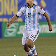 Sergio Agüero, Argentina, in action during the Argentina Vs Ecuador International friendly football match at MetLife Stadium, New Jersey. USA. 15th November 2013. Photo Tim Clayton