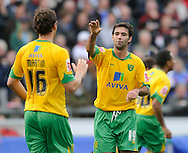 Carlisle - Saturday October 10th, 2009: Simon Lappin (19) of Norwich City celebrates with Chris Martin after their goal during the Coca Cola League One match at Brunton Park, Carlisle. (Pic by Jed Wee/Focus Images)..