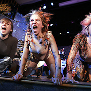"""Rye, NY / 2008 - (From left ) Caitlin Morelli, Jessie Kastenbaum and Nicola Paracchini sing and perform while in character at a rehearsal of the Rye Neck High School production of """"Cats"""" Feb. 19. ( Mike Roy / The Journal News )"""