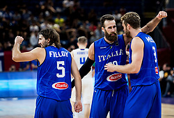 Ariel Filloy of Italy, Luigi Datome of Italy and Nicolo Melli of Italy celebrate after winning during basketball match between National Teams of Finland and Italy at Day 10 in Round of 16 of the FIBA EuroBasket 2017 at Sinan Erdem Dome in Istanbul, Turkey on September 9, 2017. Photo by Vid Ponikvar / Sportida