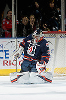 KELOWNA, CANADA - DECEMBER 27: Dylan Ferguson #31 of the Kamloops Blazers makes a save against the Kelowna Rockets on December 27, 2016 at Prospera Place in Kelowna, British Columbia, Canada.  (Photo by Marissa Baecker/Shoot the Breeze)  *** Local Caption ***