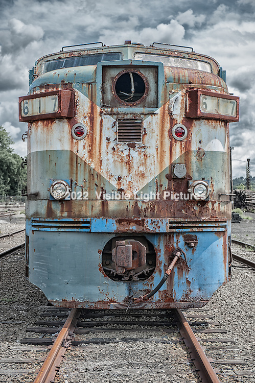 Old, rusted diesel locomotive
