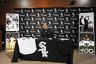 CHICAGO - FEBRUARY 12:  Former Chicago White Sox first baseman and designated hitter Frank Thomas #35 addresses the media to announce his retirement from Major League baseball on February 12, 2010 at U.S. Cellular Field in Chicago, Illinois.  Thomas played 16 years for the White Sox, from 1990 to 2005.  (Photo by Ron Vesely)