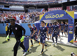 July 8, 2017 - Nashville, TN, USA - Nashville, TN - Saturday July 08, 2017: Sean Johnson, Jorge Villafana, Joe Corona, Gyasi Zardes and the USMNT during a 2017 Gold Cup match between the men's national teams of the United States (USA) and Panama (PAN) at Nissan Stadium. (Credit Image: © John Dorton/ISIPhotos via ZUMA Wire)