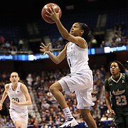 Moriah Jefferson, UConn, scores two points during the UConn Huskies Vs USF Bulls Basketball Final game at the American Athletic Conference Women's College Basketball Championships 2015 at Mohegan Sun Arena, Uncasville, Connecticut, USA. 9th March 2015. Photo Tim Clayton