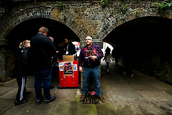 A programme seller outside The Valley ahead of the second leg of the Sky Bet League One Playoff Semi Final between Charlton Athletic v Doncaster Rovers - Mandatory by-line: Robbie Stephenson/JMP - 17/05/2019 - FOOTBALL - The Valley - Charlton, London, England - Charlton Athletic v Doncaster Rovers - Sky Bet League One Play-off Semi-Final 2nd Leg