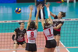 December 12, 2017 - Busto Arsizio, Varese, Italy - Sarah Grace Wilhite (#9 Yamamay e-work Busto Arsizio) during the Women's CEV Cup match between Yamamay e-work Busto Arsizio and ZOK Bimal-Jedinstvo Brcko at PalaYamamay in Busto Arsizio, Italy, on 12 December 2017. Italian Yamamay e-work Busto Arsizio team defeats 3-0 Bosnian ZOK Bimal-Jedinstvo Brcko. (Credit Image: © Roberto Finizio/NurPhoto via ZUMA Press)