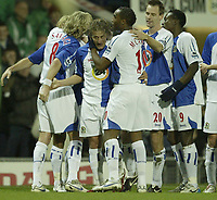 Photo: Aidan Ellis.<br /> Blackburn Rovers v Tottenham Hotspur. The Barclays Premiership. 19/11/2006.<br /> Blackburn's Tugay is mobbed after scoring the first goal