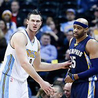 01 February 2016: Denver Nuggets forward Danilo Gallinari (8) defends on Memphis Grizzlies guard Vince Carter (15) during the Memphis Grizzlies 119-99 victory over the Denver Nuggets, at the Pepsi Center, Denver, Colorado, USA.