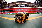An LA Rams helmet , pitch side during the International Series match between Los Angeles Rams and Cincinnati Bengals at Wembley Stadium, London, England on 27 October 2019.