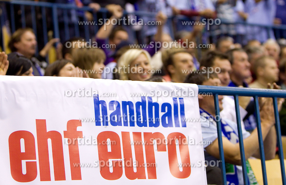 Fans of Slovenia during handball match between National teams of Slovenia and Portugal in the Qualifications of the EHF EURO 2012, on October 27, 2010 at Arena Zlatorog, Celje, Slovenia. Slovenia defeated Portugal 34 - 31.(Photo By Vid Ponikvar / Sportida.com)