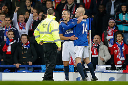 Leon Osman of Everton celebrates with Steven Naismith after scoring a goal to make it 1-0 - Photo mandatory by-line: Rogan Thomson/JMP - 07966 386802 - 06/11/2014 - SPORT - FOOTBALL - Goodison Park, Liverpool - Everton v LOSC Lille Metropole - UEFA Europa League Group H.