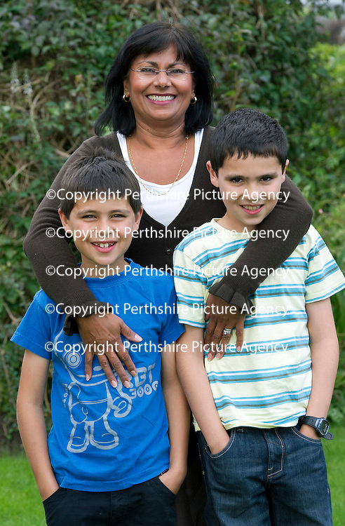 Working mum Farah Adams pictured with her sons Alex (8) and Daniel (10) at their home in Blairgowrie....08.09.11<br /> Picture by Graeme Hart.<br /> Copyright Perthshire Picture Agency<br /> Tel: 01738 623350  Mobile: 07990 594431