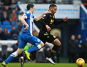 Bolton Wanderers midfielder Liam Feeney gets the better of Brighton player Jamie Murphy during the Sky Bet Championship match between Brighton and Hove Albion and Bolton Wanderers at the American Express Community Stadium, Brighton and Hove, England on 13 February 2016. Photo by Bennett Dean.