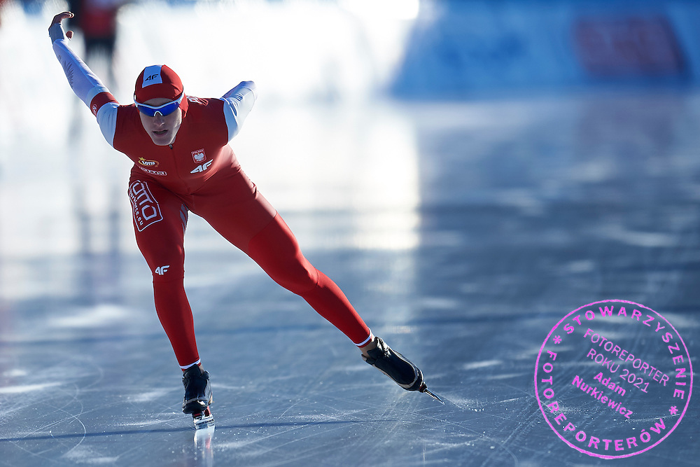 Mateusz Owczarek from Poland competes in the men's 1500 meters final during First Day of the ISU Junior World Cup Speed Skating on Stegny Ice Track on February 14, 2015 in Warsaw, Poland.<br /> <br /> Poland, Warsaw, February 14, 2015<br /> <br /> Picture also available in RAW (NEF) or TIFF format on special request.<br /> <br /> For editorial use only. Any commercial or promotional use requires permission.<br /> <br /> Adam Nurkiewicz declares that he has no rights to the image of people at the photographs of his authorship.<br /> <br /> Mandatory credit:<br /> Photo by &copy; Adam Nurkiewicz / Mediasport