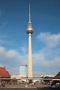 The Fernsehturm or Television Tower, built 1965-69 on Alexanderplatz, Berlin, Germany. The tower was built by East Germany or the GDR and is now a tourist attraction, with a revolving restaurant and viewing platform. It is the tallest structure in Germany. Picture by Manuel Cohen