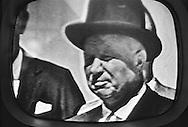 TV image of Khrushchev's visit. <br /> His visit was covered extensively.<br /> <br /> Image TV de la visite de Khrouchtchev .<br /> Sa visite a &eacute;t&eacute; tres largement couvert par les medias Americains.