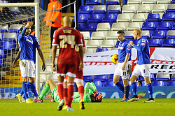 Middlesbrough's Dimitrios Konstantopoulos cuts a dejected figure as he receives a red card for fouling Birmingham City's Clayton Donaldson in the penalty area. - Photo mandatory by-line: Dougie Allward/JMP - Mobile: 07966 386802 - 18/02/2015 - SPORT - Football - Birmingham - ST Andrews Stadium - Birmingham City v Middlesbrough - Sky Bet Championship