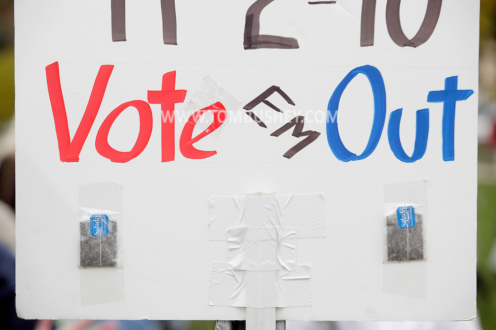Town of Wallkill, New York - Tea bags are taped to a political poster on the side of Route 211 during a rally organized by the Orange/Sullivan County 912 Tea Party on Oct. 23, 2010.