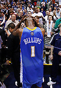 Denver Nuggets guard Chauncey Billups reacts as he walks off the court following the Utah Jazz 112-104 win over the Nuggets in Game 6 of the NBA Western Conference first-round playoff series in Salt Lake City, Friday, April 30, 2010. (AP Photo/Colin E Braley)