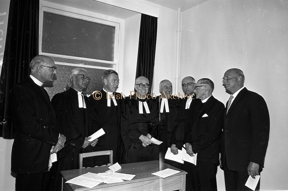 08/06/1963<br /> 06/08/1963<br /> 08 June 1963<br /> Re-dedication of Methodist Church, Abbey Street, Dublin. Attending the reopening and re-dedication of the Church as the new headquarters of the Dublin Central Mission were: Reverend J. Lynham-Cairns; Reverend Hugh Allen, Superintendent Minister; Reverend R.D. Eric Gallagher M.A.; Reverend Leslie Davidson B.D.; Reverend James Wisheart; reverend Albert Holland, D.D., Chairman of Dublin District; Reverend W. Johnstone Hunter and Mr. Julian(?) W. Squire, architect.