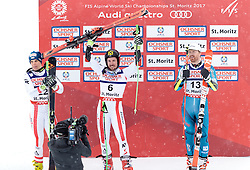 17.02.2017, St. Moritz, SUI, FIS Weltmeisterschaften Ski Alpin, St. Moritz 2017, Riesenslalom, Herren, Siegerpräsentation, im Bild v.l. Roland Leitinger (AUT, Herren Riesenslalom Silbermedaille), Marcel Hirscher (AUT, Herren Riesenslalom Weltmeister und Goldmedaille), Leif Kristian Haugen (NOR, Herren Riesenslalom Bronzemedaille) // f.l. men's Giant Slalom Silver medalist Roland Leitinger of Austria men's Giant Slalom world Champion and Gold medalist Marcel Hirscher of Austria men's Giant Slalom Bronze medalist Leif Kristian Haugen of Norway during the winner presentation for the men's Giant Slalom of the FIS Ski World Championships 2017. St. Moritz, Switzerland on 2017/02/17. EXPA Pictures © 2017, PhotoCredit: EXPA/ Johann Groder