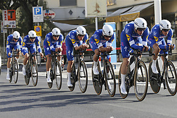March 7, 2018 - Lido Di Camaiore, ITALY - Quick-Step Floors riders pictured in action during the first stage of the 53rd edition of the Tirreno-Adriatico cycling race, a team time trial of 21,5km from and to Lido di Camaiore, Wednesday 07 March 2018, Italy. ..BELGA PHOTO YUZURU SUNADA (Credit Image: © Yuzuru Sunada/Belga via ZUMA Press)