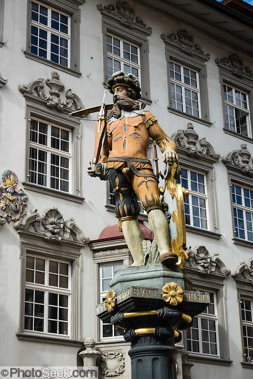 William Tell statue in medieval Old Town of Schaffhausen, Switzerland, Europe.