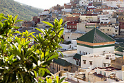 View over the Medina of Moulay Idriss Zerhoun and the Mausoleum of Idriss I from Scorpion House, Moulay Idriss Zerhoun, Middle Atlas, Morocco, 2016-08-15.