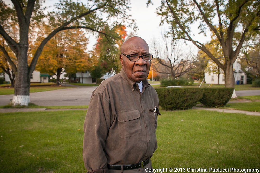 Moody Dubenion, 91 has lived on Clifton Avenue in Eastgate since March of 1959 where he painted the base of the trees that many years ago and can still be seen today. He still cuts is grass every week. (Christina Paolucci, photographer).