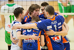 Players of ACH celebrate during volleyball game between OK Panvita Pomgrad and ACH Volley in Final of 1st DOL Slovenian National Championship 2014, on April 15, 2014 in Murska Sobota, Slovenia. Photo by Vid Ponikvar / Sportida