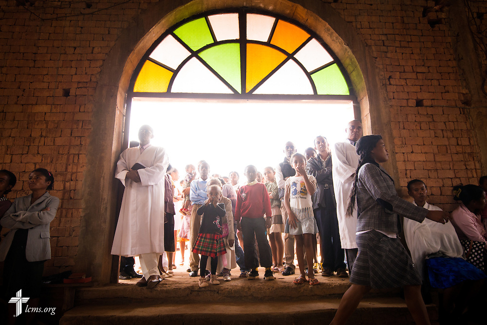 Parishioners pack the church during worship at Ivato Lutheran Church in the capital city of Antananarivo in Madagascar, on Sunday, Feb. 9, 2014. LCMS Communications/Erik M. Lunsford