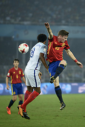 October 28, 2017 - Kolkata, West Bengal, India - Player of England and Spain in action during the FIFA U 17 World Cup India 2017 Final match on October 28, 2017 in Kolkata. England wins FIFA U 17 World Cup 5-2 goals against Spain. (Credit Image: © Saikat Paul/Pacific Press via ZUMA Wire)