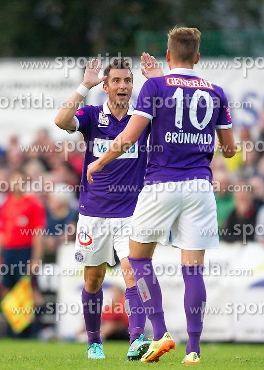 24.09.2014, Casino Stadion, Kitzbühel, AUT, OeFB Samsung Cup, FC Kitzbühel vs FK Austria Wien, im Bild Torjubel Austria Wien nach dem 0:2 durch Alexander Grünwald (FK Austira Wien) // during the Austrian Cup, 2nd round Match between FC Kitzbühel and FK Austria Vienna at the Casino Stadium, Kitzbühel, Austria on 2014/09/24. EXPA Pictures © 2014, PhotoCredit: EXPA/ JFK