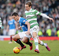 01/02/15 SCOTTISH LEAGUE CUP SEMI-FINAL<br /> CELTIC v RANGERS<br /> HAMPDEN - GLASGOW<br /> Rangers' Ian Black (left) tussles with Stefan Johansen