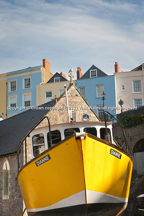 Boats in Harbour at low tide<br /> Tenby<br /> Pembrokeshire<br /> South<br /> Towns and Villages