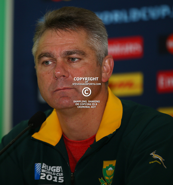 LONDON, ENGLAND - OCTOBER 14: Heyneke Meyer (Head Coach) of South Africa during the South African national rugby team announcement at the ICC in Pennyhill Park on October 14, 2015 in London, England. (Photo by Steve Haag/Gallo Images)